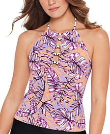 Juniors' Printed High-Neck Cutout Tankini Top, Created for Macy's