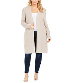 INC Plus Size Puff-Sleeve Completer Cardigan, Created for Macy's