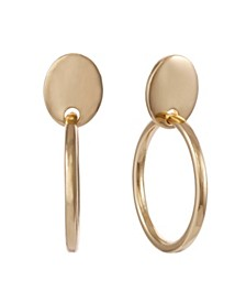 Gold Tone Clip Hoop Drop Earring
