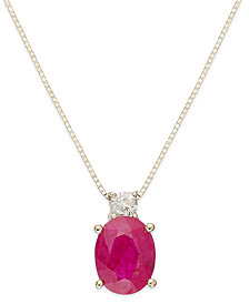 14k Gold Necklace, Ruby (1-1/2 ct. t.w.) and Diamond Accent Oval Pendant