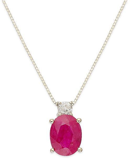 Macy's Certified Ruby (1-1/2 ct. t.w.) and Diamond Accent Oval Pendant in 14k Gold