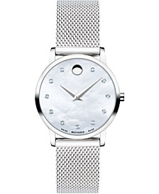 Women's Swiss Museum Classic Diamond (1/20 ct. t.w.) Stainless Steel Mesh Bracelet Watch 28mm