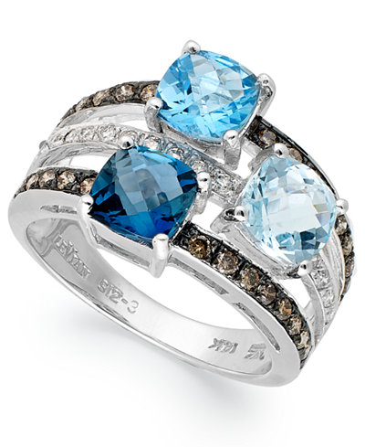 Le vian blue topaz 2 9 10 ct t w and diamond 3 8 ct for Macy s jewelry clearance