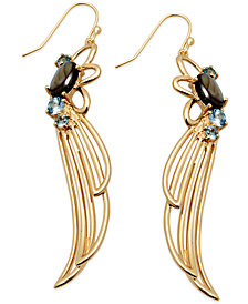SIS by Simone I Smith 18k Gold over Sterling Silver Earrings, Abalone and Blue Crystal Angel Wing Drop Earrings