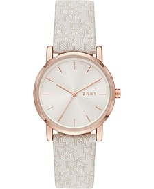 Women's SOHO White Jacquard Strap Watch 34mm
