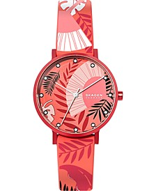 Women's Aaren Three-Hand Floral Print Coral Silicone Watch 36mm