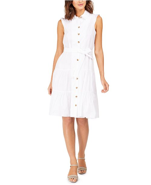 Calvin Klein Sleeveless Belted Cotton Shirtdress