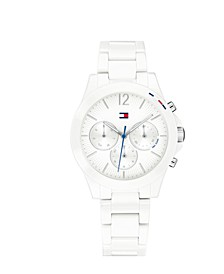 Women's Chronograph White Ceramic Bracelet Watch 38mm
