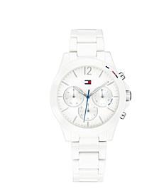 Women's Chronograph White Ceramic Bracelet Watch 38mm, Created for Macy's