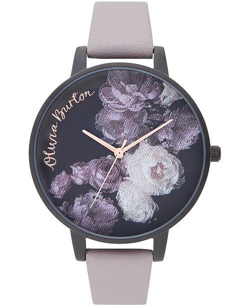 Olivia Burton Women's Fine Art Lilac Leather Strap Watch 38mm