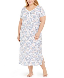 Plus Size Printed Long Cotton Nightgown, Created For Macy's
