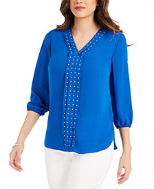 JM Collection Solid Studded Pleated Blouse, Created for Macy's