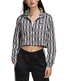 Women's Logo-Print Cropped Track Jacket