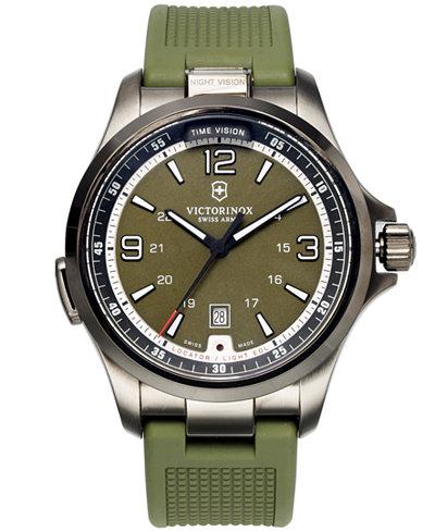 victorinox swiss army watch men s night vision green rubber strap victorinox swiss army watch men s night vision green rubber strap 42mm 241595