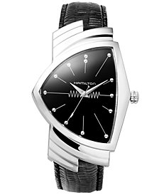 Hamilton Watch, Men's Swiss Ventura Black Leather Strap 27mm H24411732