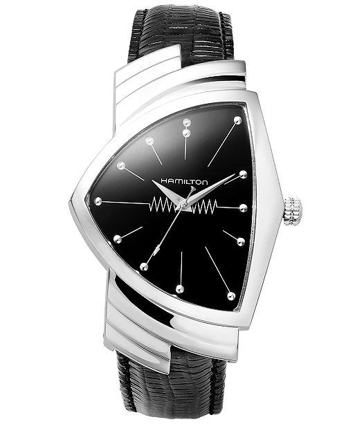 Hamilton Watch Mens Swiss Ventura Black Leather Strap 27mm