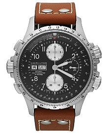Hamilton Watch, Men's Swiss Automatic Chronograph Khaki X-Wind Brown Leather Strap 44mm H77616533