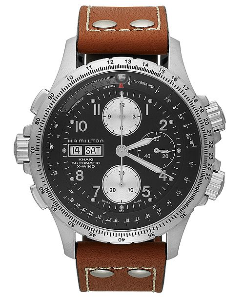 758c958a3 ... Hamilton Watch, Men's Swiss Automatic Chronograph Khaki X-Wind Brown Leather  Strap 44mm H77616533 ...