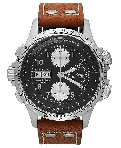 83a0a2b01 ... Hamilton Watch, Men's Swiss Automatic Chronograph Khaki X-Wind Brown  Leather Strap 44mm H77616533 ...