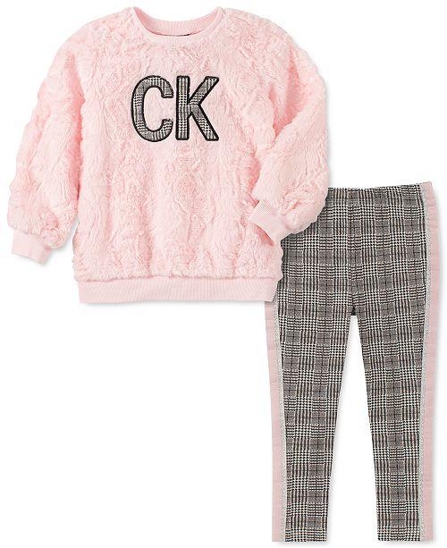 Calvin Klein Baby Girls 2-Pc. Faux Fur Top & Leggings Set