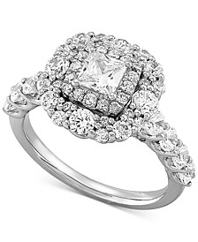 Diamond Princess Double Halo Engagement Ring (2 ct. t.w.) in 14k White Gold