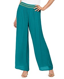 Metallic-Detail Wide-Leg Gauze Pants, In Regular & Petite, Created for Macy's