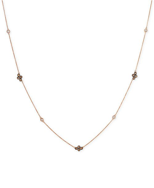 Le Vian Chocolatier® Diamond Cluster & Bezel Adjustable Statement Necklace (3/4 ct. t.w.) in 14k Rose Gold