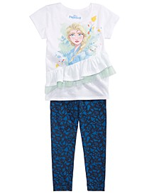 Toddler Girls 2-Pc. Ruffled Elsa Top & Printed Leggings Set