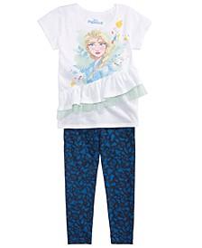 Little Girls 2-Pc. Ruffled Elsa Top & Printed Leggings Set