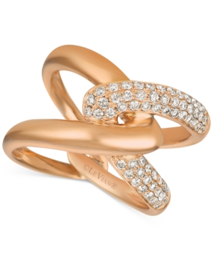 Creme Brulee Nude Diamond Interlocking Crossover Statement Ring (5/8 ct. t.w.) in 14k Rose Gold