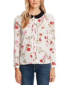 Collared Floral-Print Top