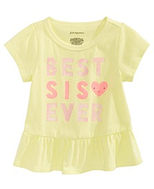 Baby Girls Best Sis-Print Cotton Peplum Top, Created for Macy's
