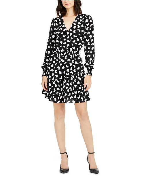 Michael Kors Petal-Print Ruffled A-Line Dress, Created for Macy's