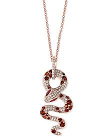 "EFFY® Multi-Gemstone (1-1/2 ct. t.w.) & Diamond (1/2 ct. t.w.) Snake 18"" Pendant Necklace in 14k Rose Gold"
