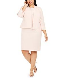 Plus Kiss-Front Jacket Dress Suit