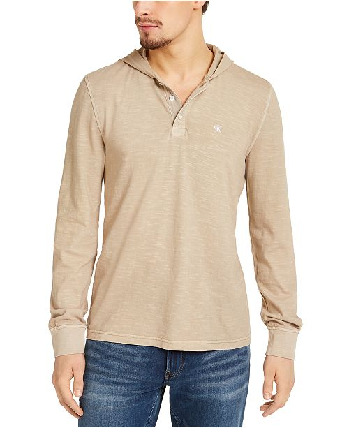 Calvin Klein Jeans Men's Textured Hooded Henley