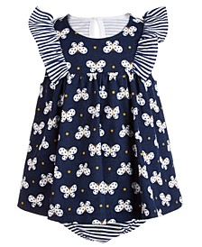 Baby Girls Butterfly-Print Striped Cotton Sunsuit, Created for Macy's