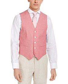 Men's Modern-Fit TH Flex Stretch Red Chambray Vest
