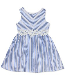 Baby Girls Textured Striped Floral Dress
