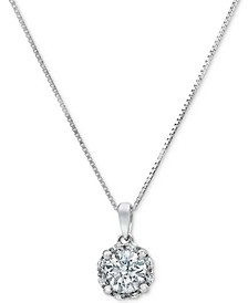 "Diamond Halo 18"" Pendant Necklace (3/4 ct. t.w.) in 14k White Gold"
