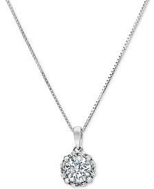 "Diamond Halo 18"" Pendant Necklace (3/4 ct. t.w.) in 14k White Gold"