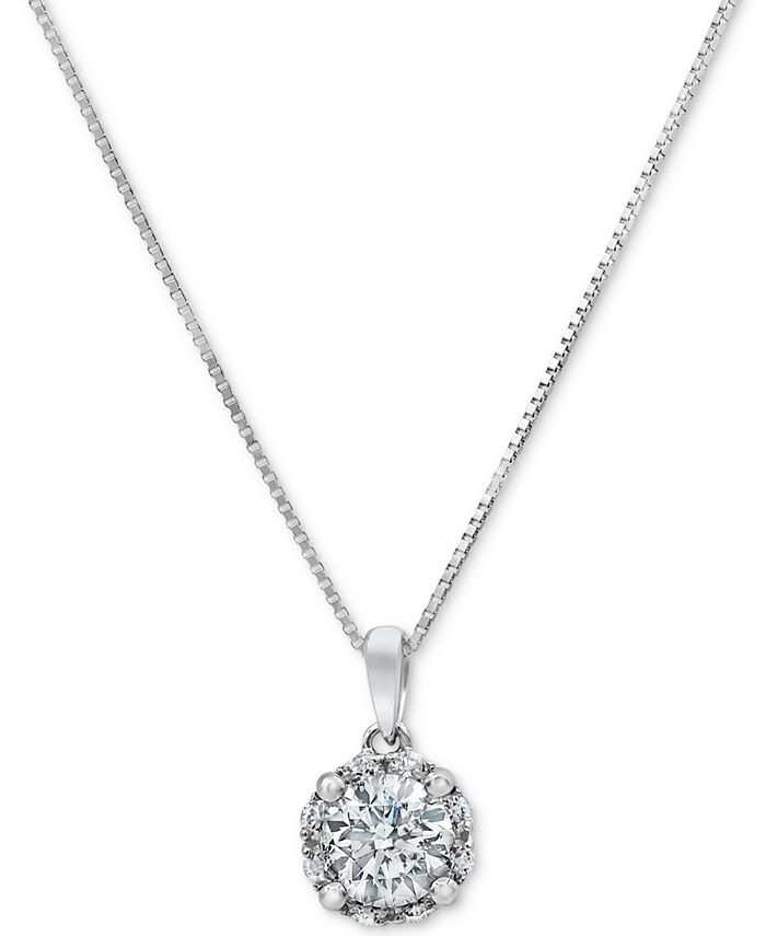 "Macy's - Diamond Halo 18"" Pendant Necklace (3/4 ct. t.w.) in 14k White Gold"