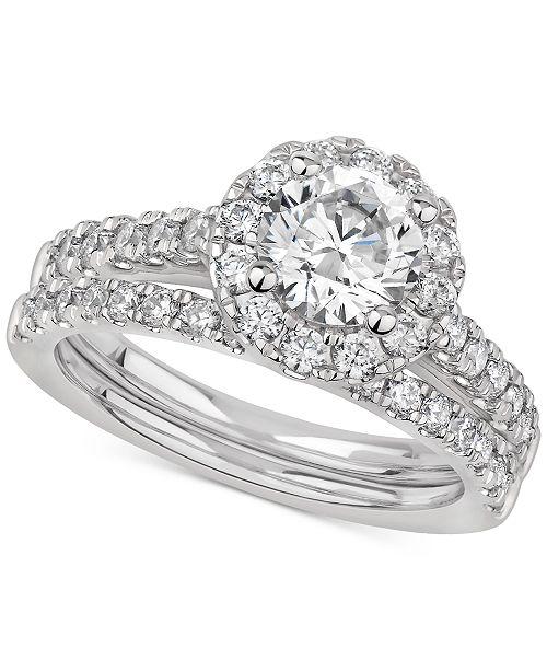 Macy's Certified Diamond Halo Bridal Set (2 ct. t.w.) in 14k White gold