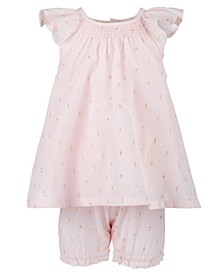 Baby Girls Flutter-Sleeve Jacquard Romper, Created For Macy's