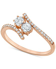 Diamond Two Stone Engagement Ring (1/2 ct. t.w.) in 14k Rose Gold