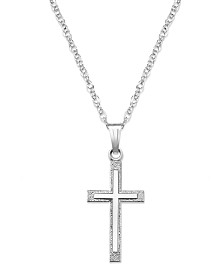 Sterling Silver Necklace, Cross Pendant