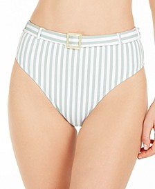 Striped Emily High-Waist Bikini Bottoms, Created for Macy's