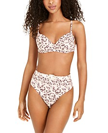 Tortoise Shell Printed Lydia Underwire Bikini Top & High-Waist Bikini Bottoms, Created for Macy's