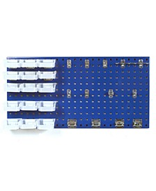 Locboard 18 Gauge Steel Square Hole Pegboard 43 Piece Kit with 15 Bins, 15 Binclips and 12 Assorted Locking Hooks and Includes All Mounting Hardware
