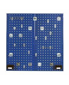 Locboard 2 Steel Square Hole Pegboards with 30 Piece Lochook Assortment Hanging Bin System